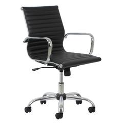 Swivel Ribbed Leather Executive Conference Chair with Arms, Black/Chrome