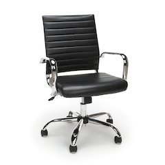 Ribbed Leather Executive Chair, Black