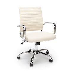 Ribbed Leather Executive Chair, Ivory