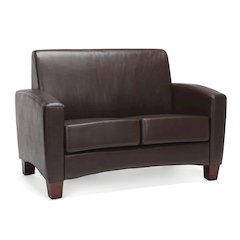 Traditional Armed Loveseat, Brown