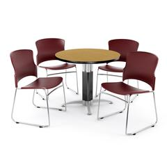"""Core Collection Breakroom Set, 42"""" Round Metal Mesh Base Multi-purpose Table in Oak, 4 Multi-use Plastic Stack Chairs in Wine"""