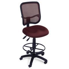 OFM Comfort Series Model 130-DK Ergonomic Mesh Swivel Armless Task Chair with Drafting Kit, Mid Back, Wine