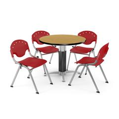 """Core Collection Breakroom Bundle, 42"""" Round Metal Mesh Base Multi-purpose Table in Oak, 4 Rico Stacking Chairs in Red"""