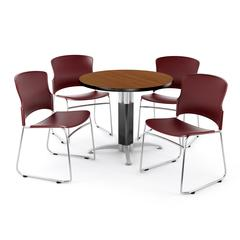 """Core Collection Breakroom Set, 42"""" Round Metal Mesh Base Multi-purpose Table in Cherry, 4 Multi-use Plastic Stack Chairs in Wine"""