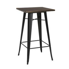 "The OFM 161 Collection Industrial Modern 24"" Square Bar Table with Footring features a galvanized steel frame coupled with a 1"" thick wooden tabletop and completed with a footrest that's positioned 11"