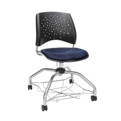 OFM Stars Foresee Series Chair with Removable Fabric Seat Cushion - Student Chair, Navy (329)