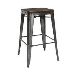 "The OFM 161 Collection Industrial Modern 30"" Backless Metal Bar Stools with Solid Ash Wood Seats, 4 Pack, require no assembly, are stackable, and provide a roomy 15 square inches of seating surface. P"