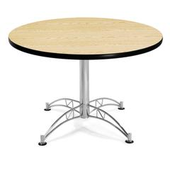 "OFM Model LT42RD 42"" Multi-Purpose Round Table with Chrome-Plated Steel Base, Oak"