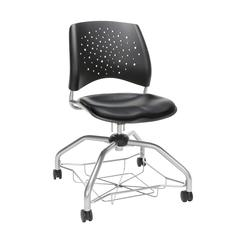 OFM Stars Foresee Series Chair with Removable Vinyl Seat Cushion - Student Chair, Black (329-VAM)