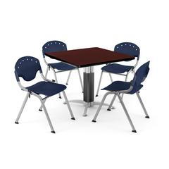 """Core Collection Breakroom Bundle, 36"""" Square Metal Mesh Base Multi-purpose Table in Mahogany, 4 Rico Stacking Chairs in Navy"""