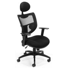 OFM Parker Ridge Series Executive Mesh Task Chair with Headrest, Mid Back, Black