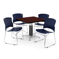 Square Metal Mesh Base Table in Mahogany, 4 Plastic Stack Chairs in Navy