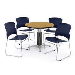 Metal Mesh Base Table in Oak, 4 Plastic Stack Chairs in Navy