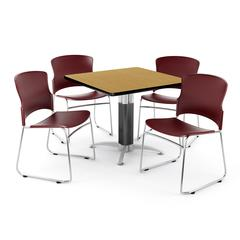 """Core Collection Breakroom Set, 42"""" Square Metal Mesh Base Multi-purpose Table in Oak, 4 Multi-use Plastic Stack Chairs in Wine"""