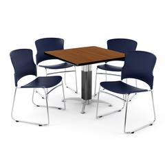 Square Metal Mesh Base Table in Cherry, 4 Plastic Stack Chairs in Navy