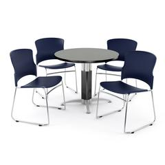 Metal Mesh Base Table in Gray Nebula, 4 Plastic Stack Chairs in Navy