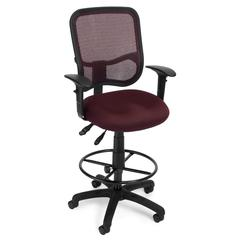 OFM Comfort Series Model 130-AA3-DK Ergonomic Mesh Swivel Task Chair with Arms and Drafting Kit, Mid Back, Wine