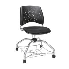 OFM Stars Foresee Series Chair with Removable Fabric Seat Cushion - Student Chair, Black (329)