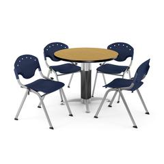 """Core Collection Breakroom Bundle, 42"""" Round Metal Mesh Base Multi-purpose Table in Oak, 4 Rico Stacking Chairs in Navy"""
