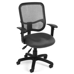 OFM Comfort Series Model 130-AA3 Ergonomic Mesh Swivel Task Chair with Arms, Mid Back, Gray