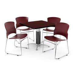 """Core Collection Breakroom Set, 42"""" Square Metal Mesh Base Multi-purpose Table in Mahogany, 4 Multi-use Plastic Stack Chairs in Wine"""