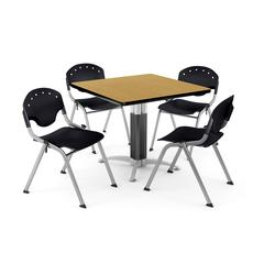 """Core Collection Breakroom Bundle, 42"""" Square Metal Mesh Base Multi-purpose Table in Oak, 4 Rico Stacking Chairs in Black"""