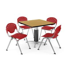 """Core Collection Breakroom Bundle, 42"""" Square Metal Mesh Base Multi-purpose Table in Oak, 4 Rico Stacking Chairs in Red"""