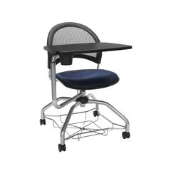 OFM Moon Foresee Series Tablet Chair with Removable Fabric Seat Cushion - Student Desk Chair, Navy (339T)