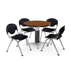 """Core Collection Breakroom Bundle, 42"""" Round Metal Mesh Base Multi-purpose Table in Cherry, 4 Rico Stacking Chairs in Black"""