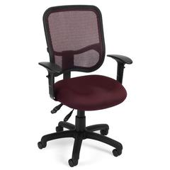 OFM Comfort Series Model 130-AA3 Ergonomic Mesh Swivel Task Chair with Arms, Mid Back, Wine
