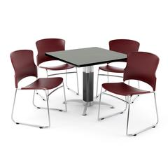 """Core Collection Breakroom Set, 42"""" Square Metal Mesh Base Multi-purpose Table in Gray Nebula, 4 Multi-use Plastic Stack Chairs in Wine"""