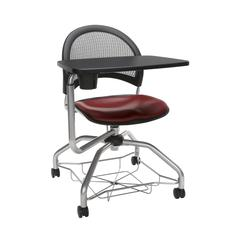 OFM Moon Foresee Series Tablet Chair with Removable Vinyl Seat Cushion - Student Desk Chair, Wine (339T-VAM)