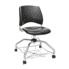 OFM Stars Foresee Series Chair with Removable Vinyl Seat Cushion - Student Chair, Charcoal (329-VAM)