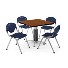 """Core Collection Breakroom Bundle, 42"""" Square Metal Mesh Base Multi-purpose Table in Cherry, 4 Rico Stacking Chairs in Navy"""