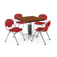"""Core Collection Breakroom Bundle, 42"""" Square Metal Mesh Base Multi-purpose Table in Cherry, 4 Rico Stacking Chairs in Red"""