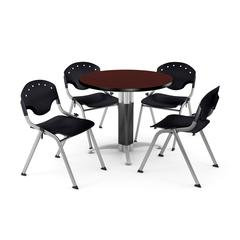 """Core Collection Breakroom Bundle, 42"""" Round Metal Mesh Base Multi-purpose Table in Mahogany, 4 Rico Stacking Chairs in Black"""