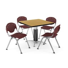 """Core Collection Breakroom Bundle, 42"""" Square Metal Mesh Base Multi-purpose Table in Oak, 4 Rico Stacking Chairs in Burgundy"""