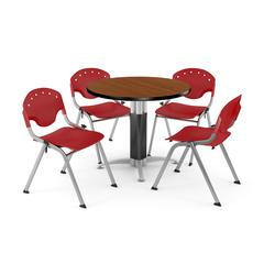 """Core Collection Breakroom Bundle, 42"""" Round Metal Mesh Base Multi-purpose Table in Cherry, 4 Rico Stacking Chairs in Red"""