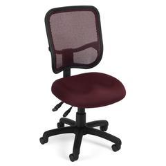 OFM Comfort Series Model 130 Ergonomic Mesh Swivel Armless Task Chair, Mid Back, Wine