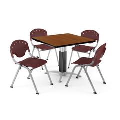 """Core Collection Breakroom Bundle, 42"""" Square Metal Mesh Base Multi-purpose Table in Cherry, 4 Rico Stacking Chairs in Burgundy"""