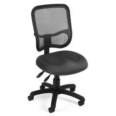 OFM Comfort Series Model 130 Ergonomic Mesh Swivel Armless Task Chair, Mid Back, Gray