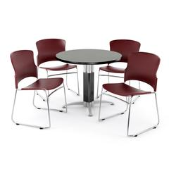 Metal Mesh Base Table in Gray Nebula, 4 Plastic Stack Chairs in Wine