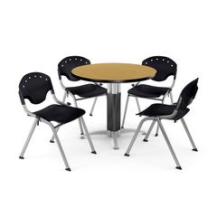 """Core Collection Breakroom Bundle, 42"""" Round Metal Mesh Base Multi-purpose Table in Oak, 4 Rico Stacking Chairs in Black"""