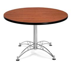 "OFM Model LT42RD 42"" Multi-Purpose Round Table with Chrome-Plated Steel Base, Cherry"