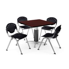 """Core Collection Breakroom Bundle, 42"""" Square Metal Mesh Base Multi-purpose Table in Mahogany, 4 Rico Stacking Chairs in Black"""