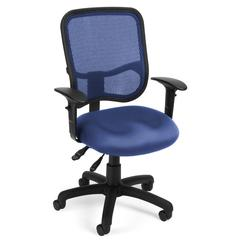 OFM Comfort Series Model 130-AA3 Ergonomic Mesh Swivel Task Chair with Arms, Mid Back, Navy