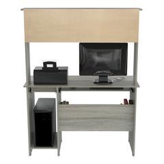 WorkCenter Computer desk with Hutch, Smoke Oak