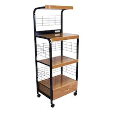 """60""""H Black Microwave Cart W/ Outlet"""