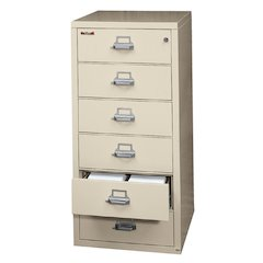 6 Drawer Card, Check and Note File Cabinet, Parchment