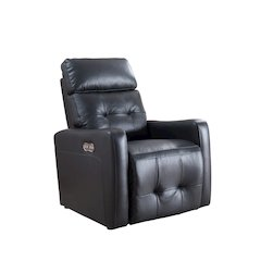 Anna Collection Contemporary Leather Upholstered Living Room Electric Recliner Power Chair with Adjustable headrest, Black